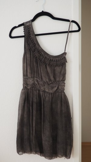 One Shoulder Dress grey brown