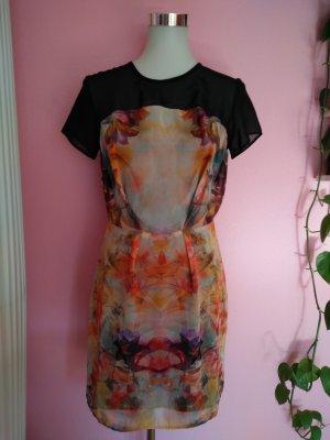 Leichtes Sommerkleid mit Muster, schwarz/bunt (K1)