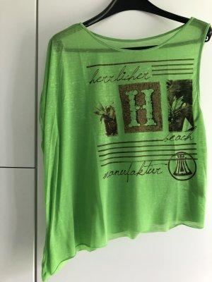 Herrlicher Camisa de un solo hombro verde pradera-marrón Poliéster