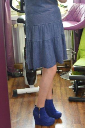 Leichtes Tolles Esprit Volant-Kleidchen Blau Gr. L/42