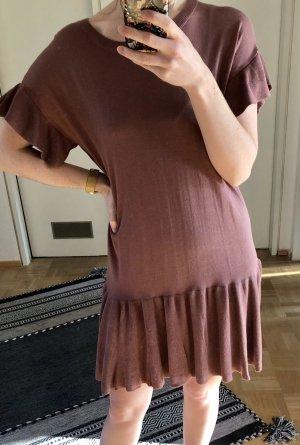 H&M Volante jurk donkerrood-framboosrood