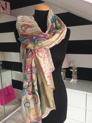 Leichtes XL Tuch Schal beige nude bunt
