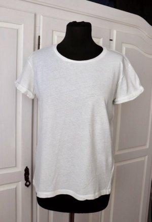 Leinen Baumwolle Shirt Größe S 36 in weiß