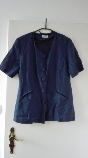 Leinen Blazer Jacke blau true Vintage Gr. 38 M L 40 Blouson