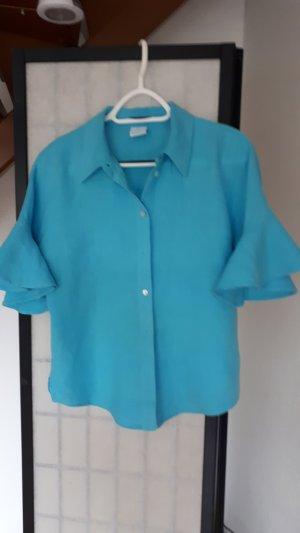 Madeleine Blouse en lin turquoise