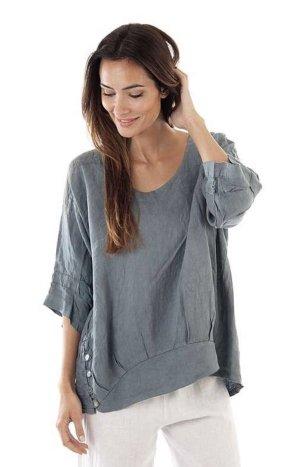 Blusa in lino grigio ardesia