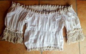 Stockerpoint Folkloristische blouse licht beige Linnen