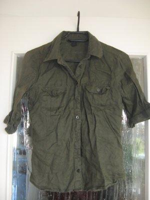 Leinen-Bluse dunkelgrün