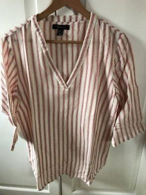 Leinen Bluse in rot/weiß