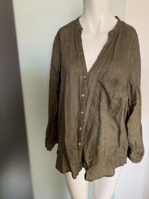 Zara Blusa de lino marrón grisáceo