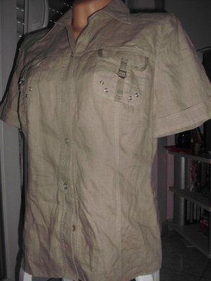 LEINEN-Bluse, kaki, Brusttaschen, sportlicher Style, Gr. 40