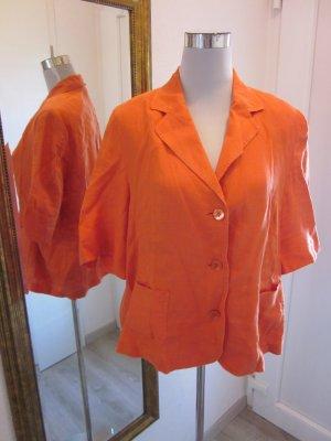 Leinen Blusen Jacke Kurzarm Gr L Orange