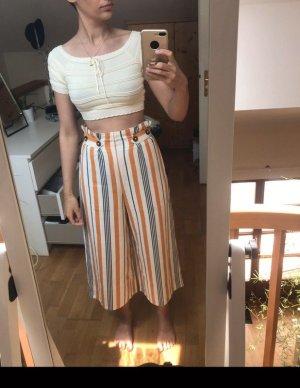Leinen Culotte Weite Hose High Waist Gestreift Gelb