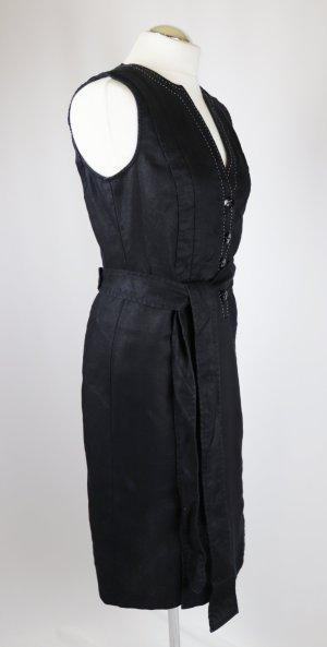 Leinen Etui Kleid Pencil Midikleid Apanage Größe M 36 38 Schwarz Weiß Gürtel Polo Ausschnitt V-Neck