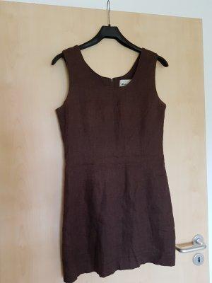 Vestido ceñido de tubo marrón Lino