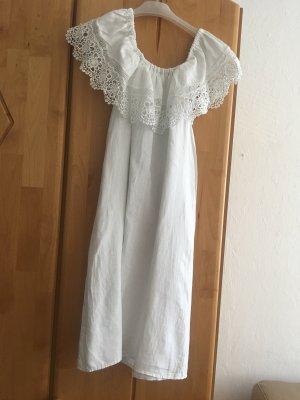 120% Lino Robe asymétrique blanc