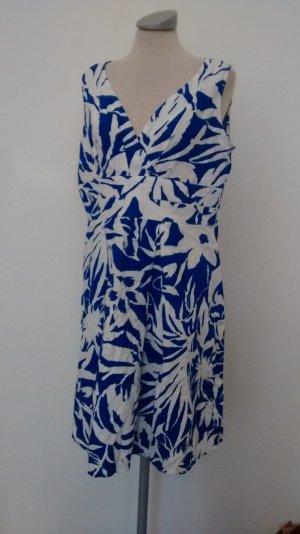 Leinen Kleid Etuikleid Sommer blau weiß Gr. Uk 14 K 42 petite