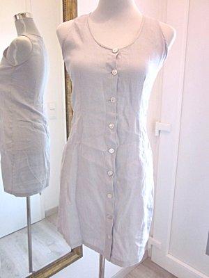 Leinen Kleid Taupe Grau Kurz Gr S