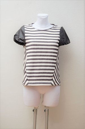 Leinen-Leder-Ringel-Shirt