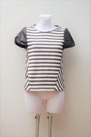 Maje T-shirt rayé blanc cassé-noir