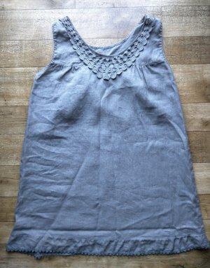 Camisa larga marrón grisáceo-gris Lino