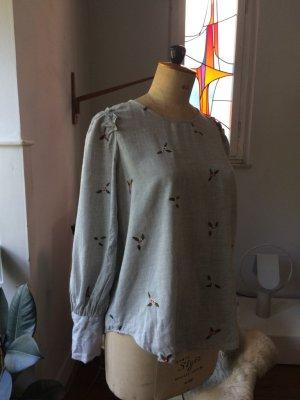 Leinen-Oberteil, Bluse, Stickerei, 1 mal getragen, Rüschen Gr. 38