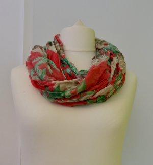 Leinen-Schal/ Tuch in pink-grün-beige, frühlingshaft mit Blumen