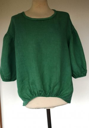 new collection Slip-over Blouse green linen