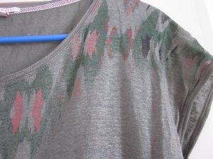 Leinen Shirt Olivgrün Ethno