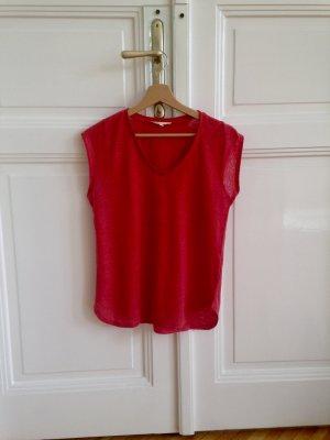 Leinen T-Shirt in rot