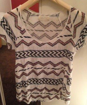 Leinen T-Shirt mit Etno-Print von Zara