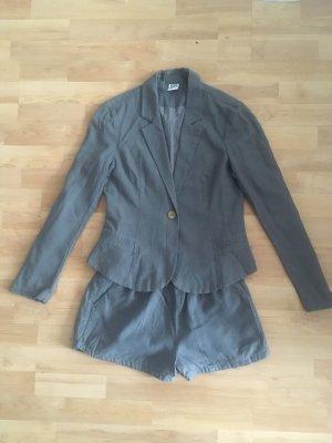 Leinen Vero Moda Blazer Hose Short creme grau 38 (NEU)