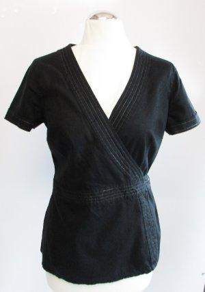 Esprit Blusa cruzada negro-color plata tejido mezclado