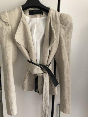Zara Blazer corto crema-gris claro Lino