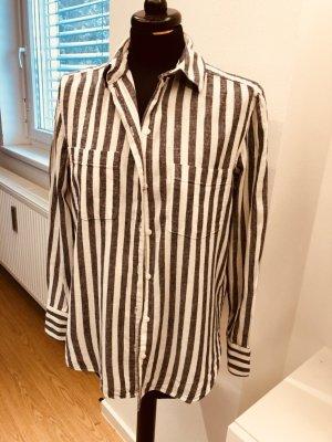 H&M Blouse en lin blanc cassé-gris anthracite