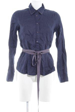 Blouse en lin bleu foncé-gris violet style décontracté