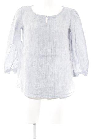 Blusa de lino azul oscuro-blanco look casual