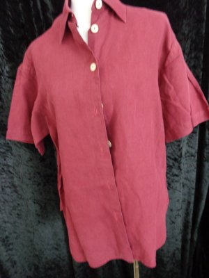 Linen Blouse dark red linen