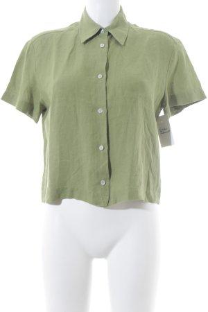 Leinenbluse grasgrün schlichter Stil