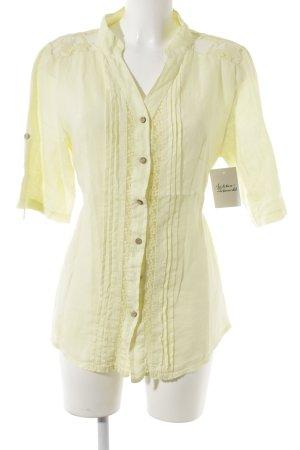 Blouse en lin jaune clair style décontracté