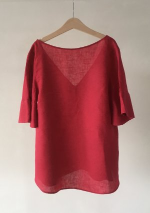 Massimo Dutti Linen Blouse raspberry-red