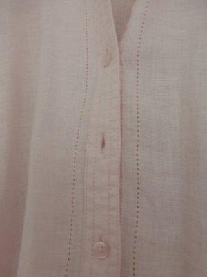 Leinenbluse in Rosé mit Lochmusterkante
