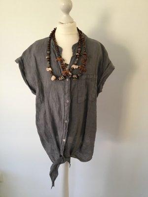 Short Sleeve Shirt grey linen