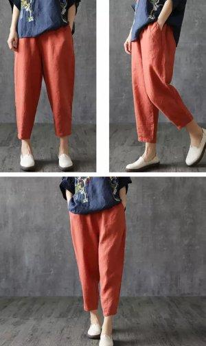 3/4-broek donker oranje Linnen