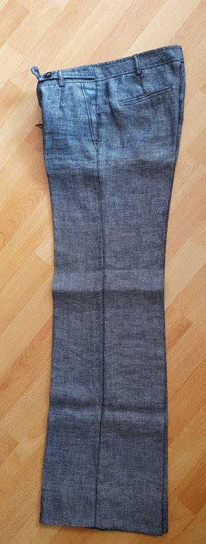 MNG SUIT Pantalón de lino blanco puro-azul oscuro