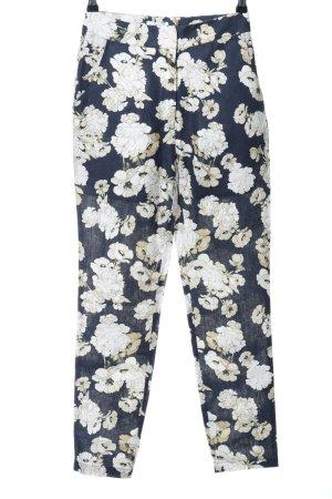 Linen Pants dark blue-beige flower pattern business style