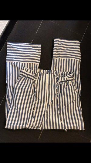 Mango Linnen broek wit-blauw