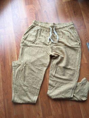 Pantalón de lino beige claro-camel