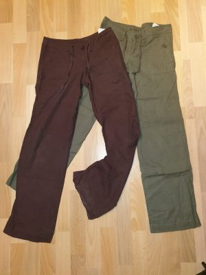 Amisu Linen Pants dark brown-khaki