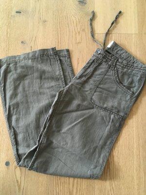 Leinenhose von H&M in khaki/olivgrün